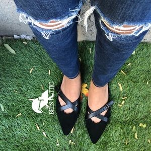 Shoes - Vegan Suede Black Pointed Toed Slip On Fla…